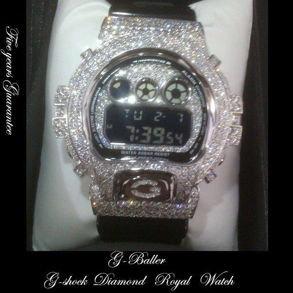画像1: G-SHOCKカスタム ダイアモンドWG FULLカスタム 5年保証付き Royal Platinum watch
