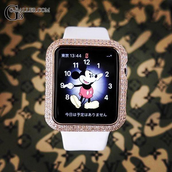 画像2: アップルウォッチ2 ダイヤ K18PG カバー Apple Watch2