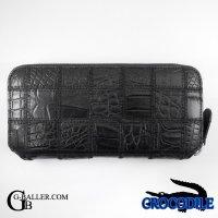 クロコダイル財布 黒 メンズ レディース