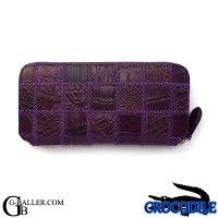 本革 クロコダイル 財布 メンズ レディース 紫