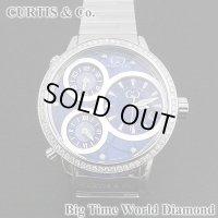 即納:カーティス ビックタイムワールド ダイヤモンド 3タイムゾーン ステンレスベルト