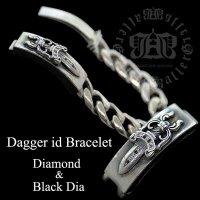 クロムハーツ カスタム ダイヤ ID ダガー クラシックチェーン ブレスレット 8ダイヤ ブラックダイヤ カスタム