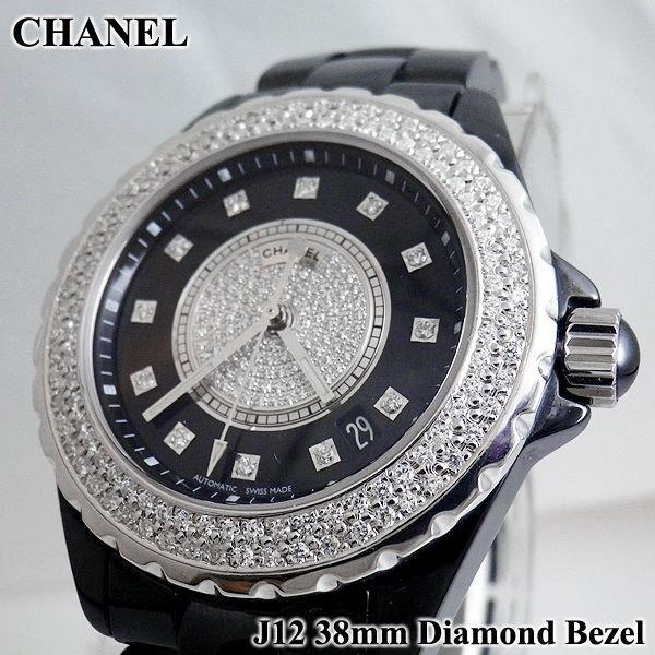 CHANEL J12 38mm ダイヤベゼル ブラック