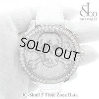 【正規品】 JACOB腕時計 スカルクロスボーン ホワイト 5タイムゾーン 47mm
