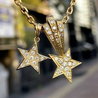 (R) K18 スター ネックレスペンダント パヴェ ダイヤモンド