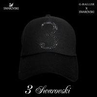 スワロフスキー キャップ 数字 3 G-BALLER ブランド オリジナル スワロCAP