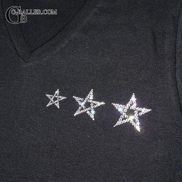 画像2: スワロフスキー Tシャツ ブランド 3スター Vネック