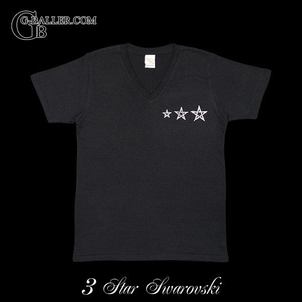 画像1: スワロフスキー Tシャツ ブランド 3スター Vネック
