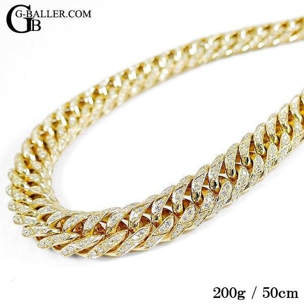画像2: K18 喜平ネックレス ダイヤ 200g 6面ダブル 60cm/50cm