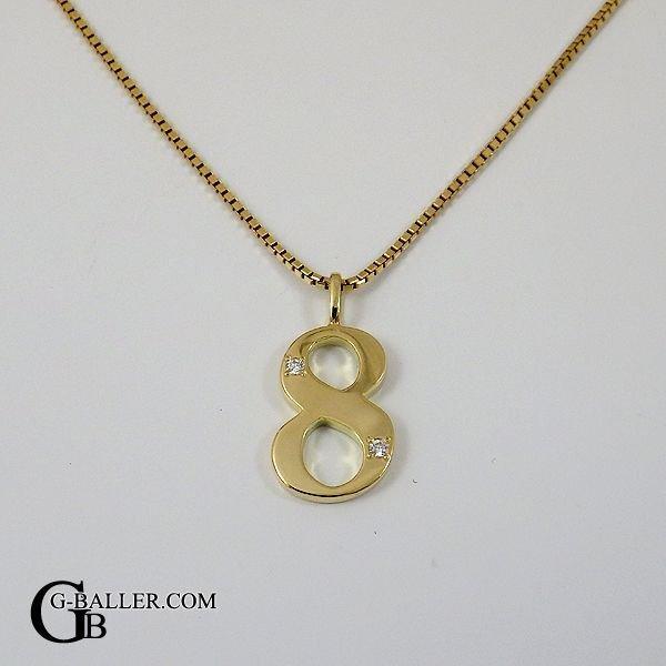 画像1: 18金 ネックレス ナンバー 8 数字 ペンダント ダイヤ