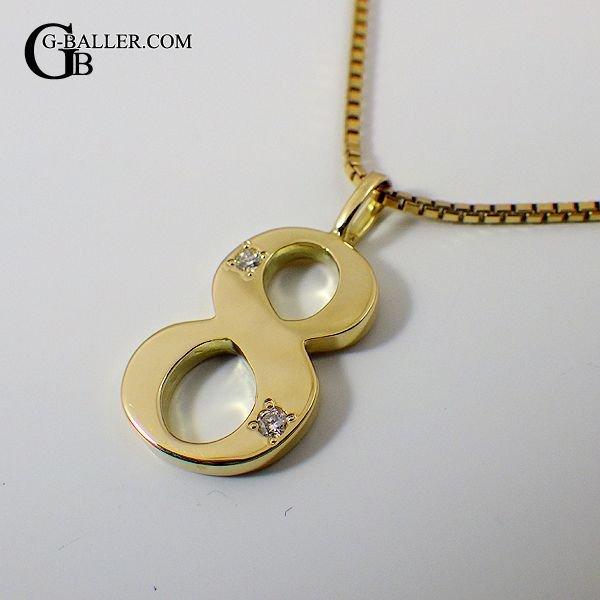 画像2: 18金 ネックレス ナンバー 8 数字 ペンダント ダイヤ