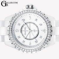 シャネル J12 8Pダイヤ ベゼルダイヤモンド 33mm H3110 レディース  セラミック 白 新品