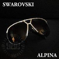 アルピナ ALPINA M1 ビンテージ サングラス スワロフスキー 加工 希少カラーモデルをスワロでカスタム