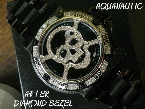 画像1: アクアノウティック ダイヤベゼル  キングサブコマンダー アフターダイヤ スカル ベゼル マスク スカルダイヤ キングサブコマンダー アフターダイヤ, AQUANAUTIC BEZEL SKULL