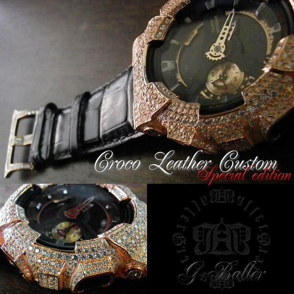画像3: G-BALLER ブラッククロコレザー GA110ピンクゴールドカスタム スペシャルエディション 限定カラー 特別仕様