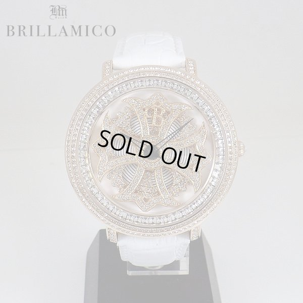 画像1: 【即納】BRILLAMICO/ブリラミコ スワロ時計 ゴールドxホワイト