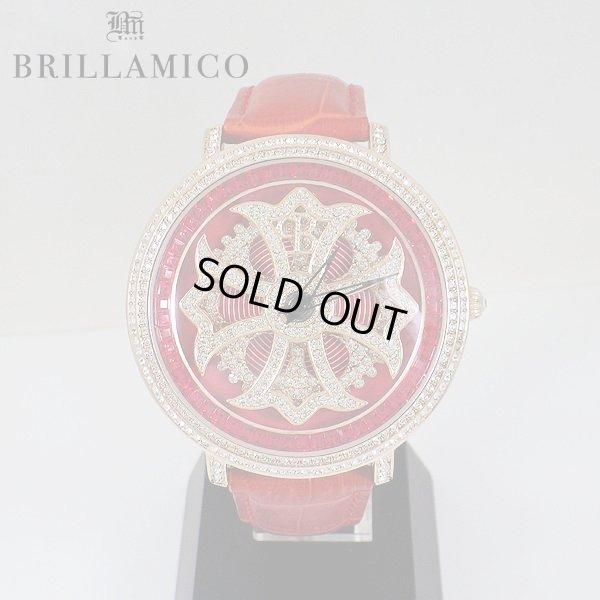 画像1: 【即納】BRILLAMICO/ブリラミコ スワロ時計 ゴールド x レッド