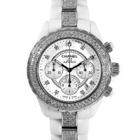 Chanel J12 Chronograph 41mm Diamond 9P/DIA Dial White Ceramic AT