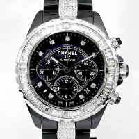 Chanel J12 Chronograph 41mm Baguette Diamond 9P/DIA Dial Black Ceramic AT
