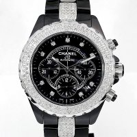 Chanel J12 Chronograph 41mm Diamond 9P/DIA Dial Black Ceramic AT