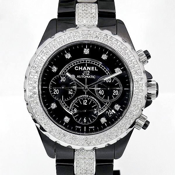 画像1: Chanel J12 Chronograph 41mm Diamond 9P/DIA Dial Black Ceramic AT