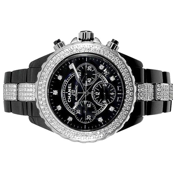 画像2: Chanel J12 Chronograph 41mm Diamond 9P/DIA Dial Black Ceramic AT