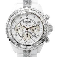 Chanel J12 Chronograph 41mm Baguette Diamond 9P/DIA Dial White Ceramic AT