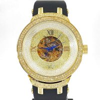 Joe Rodeo Master JJM72 Diamond 2.2ct Skeleton Dial Rubber Gold Coating