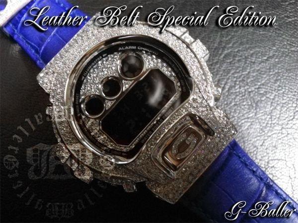 画像2: G-SHOCK カスタム DW6900 レザーベルト スペシャル エディション ブルーのクロコレザーベルトでカスタムした上級フルコンプリートモデル