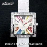 即納:エテノワール グランドスクエア ダイヤモンド ベゼル ホワイト レザー GRAND SQUARE アフターダイヤ