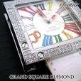 画像4: 即納:エテノワール グランドスクエア ダイヤモンド ベゼル ホワイト レザー GRAND SQUARE アフターダイヤ (4)