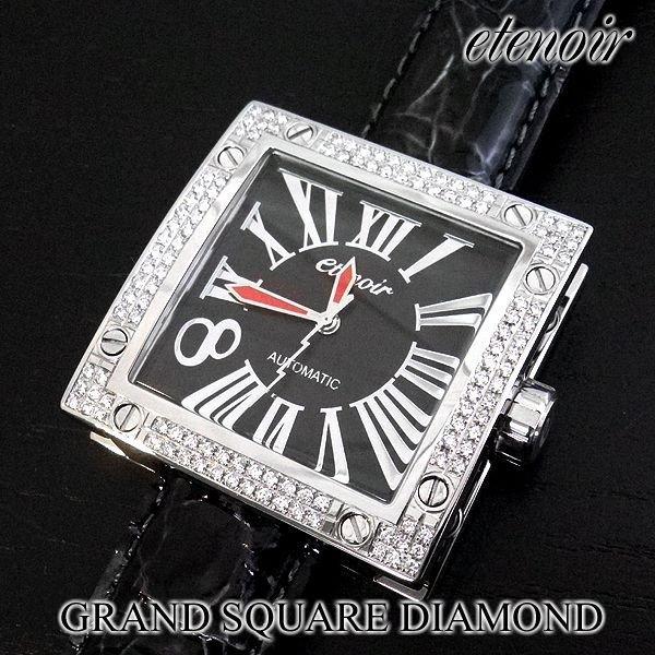 画像2: エテノワール グランドスクエア2 ダイヤ ベゼル ブラック レザー GRAND SQUARE2