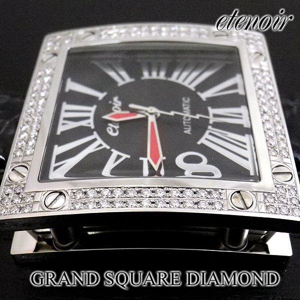 画像3: エテノワール グランドスクエア2 ダイヤ ベゼル ブラック レザー GRAND SQUARE2