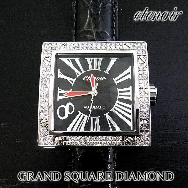画像1: エテノワール グランドスクエア2 ダイヤ ベゼル ブラック レザー GRAND SQUARE2