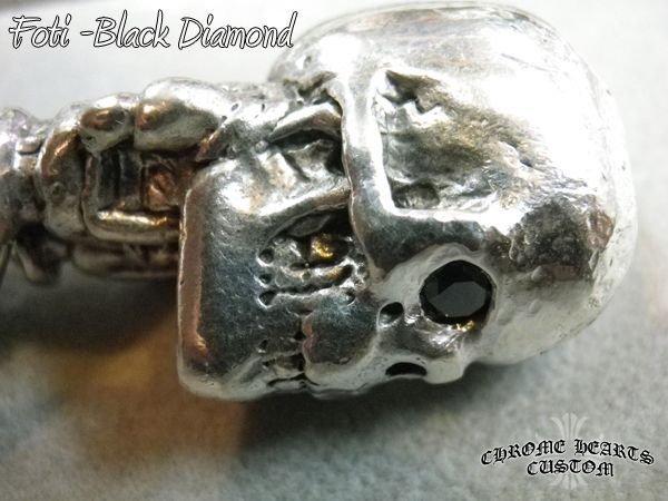 画像1: クロムハーツ キーチェーン Fotiスカル ブラックダイヤ カスタム