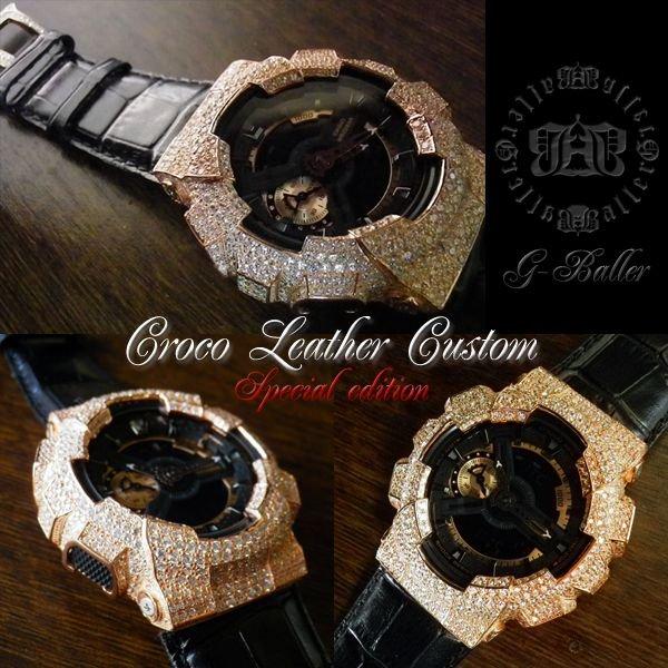画像2: G-BALLER ブラッククロコレザー GA110ピンクゴールドカスタム スペシャルエディション 限定カラー 特別仕様
