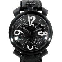 Gaga Milano Manuale 48mm Black PVD Diamond Dial 5012-02S Leather Bracelet
