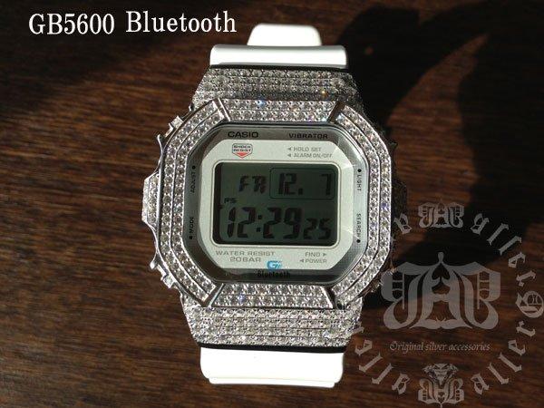 画像1: GB5600aa White レア カスタム 本体セット!! WHITE DIAMOND Gショックカスタム GB BLUETOOTH カスタム 世界初のブルートゥース G-SHOCKカスタム!