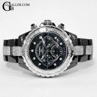 時計アフターダイヤ シャネルJ12 9Pクロノ バゲットダイヤ/ブレスダイヤ
