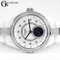 時計アフターダイヤ シャネルJ12 ファーズドゥリュヌ 白 ダイヤベゼル/ブレスダイヤ