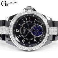 時計アフターダイヤ シャネルJ12 ファーズドゥリュヌ 黒 ダイヤベゼル/ブレスダイヤ