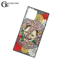 スクエアIphoneケース/般若×桜×菊紋デザイン