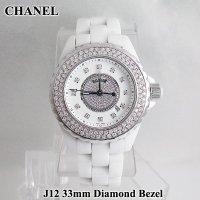 J12 33mm 12Pダイヤ センターダイヤモンド ベゼルダイヤ ホワイト H2123 CHANEL