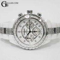 時計アフターダイヤ シャネルJ12 9Pクロノ バゲットダイヤベゼル/ブレスダイヤ