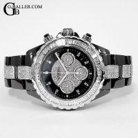 時計アフターダイヤ シャネルJ12 100本限定仕様 バゲットダイヤベゼル/ブレスダイヤ