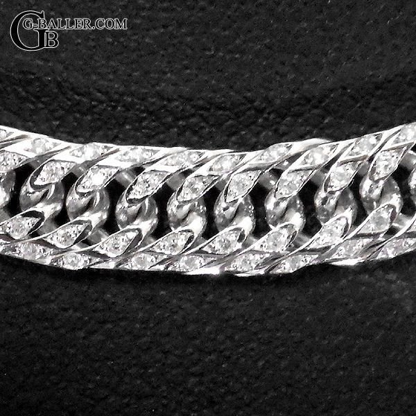 画像3: K18WG 喜平ネックレス ダイヤ 100g 6面ダブル 60cm ホワイトゴールド