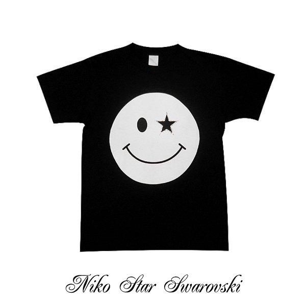 画像1: ニコSTAR スワロフスキー Tシャツ スマイル スワロ 半袖 ニコチャン