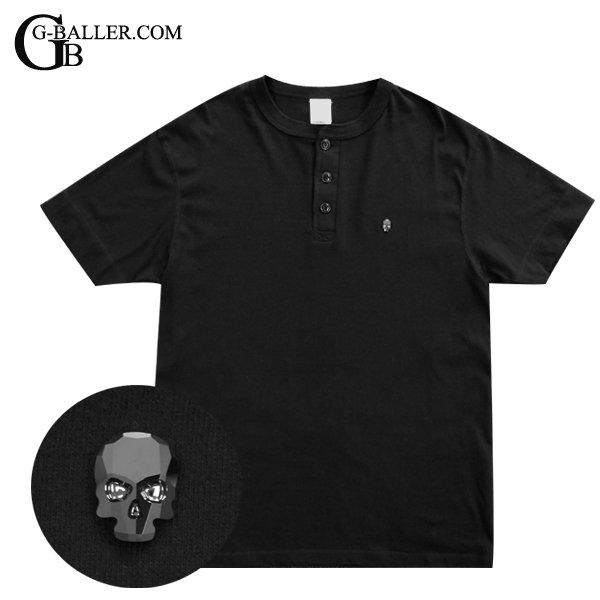 スカル ヘンリーネックシャツ ブラック