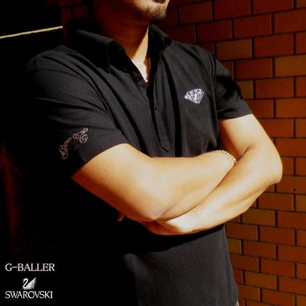 画像1: スワロフスキー ドレスシャツ スワロシャツ ダイヤモンド ブラック
