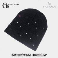 スワロフスキー デコ デザイン ニット帽 キャップ